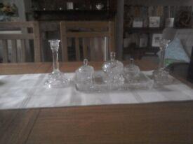 Glass dressing table set vintage
