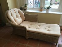 Ratten Chaise Longue With Cushions