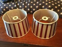 Pair of Laura Ashley red and white striped ceiling shades
