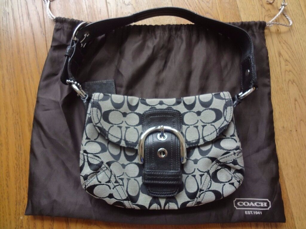 COACH Black Monogram Leather Handbag - authentic and in perfect condition