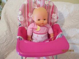 Dolls High Chair complete with Doll and Potty