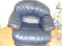 blue leather armchair