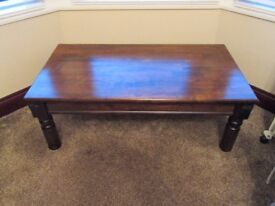 LARGE DARK HARDWOOD OBLONG COFFEE TABLE