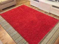 Ikea Hampen Rug High Pile Orange Burnt Red 133x195 Cm Vgc