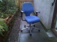 Giroflex G64 Blue Office Chair w/Adjustable Arms, Seat and Height