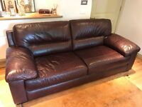 Quality Dark Brown Leather 3 Seater Sofa In Very Good Condition.