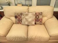 Cream Leather, 2-seater sofa