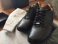 HUGO BOSS Lace-up trainers in black polished leather - BRAND NEW RRP - 230£