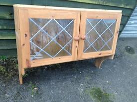 Solid pine dresser top with leaded glass doors