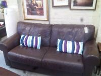 2 Seat Brown Leather Sofa and Chair GT 642