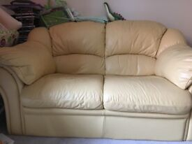 Leather-like 2seater sofa, beige coloured, good conditions