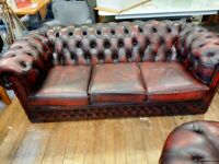 Leather sofa & chair chesterfield