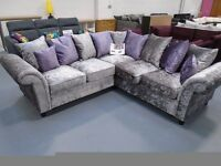 Brand New Crush Velvet Corner Sofa. Silver/Purple Or Silver/Black. Comes 3+2 Also Matching Swivel