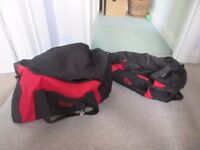 2 Overnight bags - red/black.