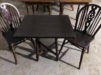 Pub dark wood table & 2 chairs