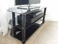 corner TV stand / cabinet - black tempered glass