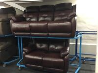 New/Ex Display Burgundy LazyBoy Leather 3 + 2 Seater Electic Recliner Sofa