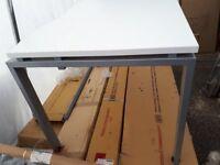 Dams international addapt 2 desk in white with gray steel legs
