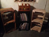 Vintage vinyl holders crafted from pallet wood