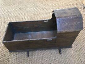 Vintage cradle antique wood baby's rocking crib