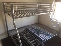Tandy Triple Sleeper Silver Bunk Bed. New