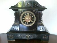 antique marble mantle clock, its huge! 8 day movement