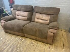 DESIGNER CORD FABRIC 2 SEAT RECLINER SOFA NICE & VERY COMFY FREE DELIVERY