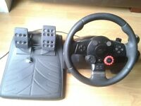 Thrustmaster wheel with power pack and pedals