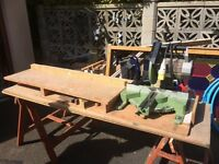Cross cutting and mitre drop down saw and bench