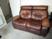Land of Leather 2-Seat Recliner Sofa - Brown