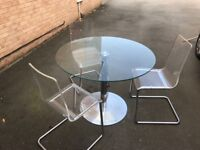John Lewis Glass Table and 3 chairs