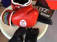Red Firepower 10oz leather boxing gloves