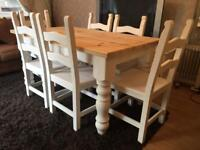 5ft Shabby Chic Chunky Farmhouse Pine Table and 6 Chairs