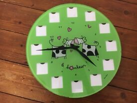 FOX TROT GREEN GLASS PERSONALISED PHOTO 12 SLOT ROUND WALL CLOCK COW HEARTS