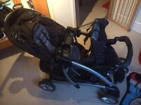 Graco double pushchair. Car seats and bases