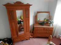 Antique satinwood wardrobe and dressing table