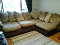 Dfs right hand corner sofa with footstool and 2 seater matching sofa