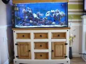 N.D 400Ltr 4FT Marine fish Tank With 100 Ltr Sump tank. DELTEC REEF OAK STAND
