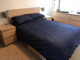 Ikea Malm Bedroom - 1 Double Bed incl. Mattress + 2 bedside tables + 4 underbed storage drawers