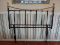 Brass effect and Black Metal Double Bed Headboard