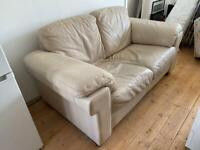 1 FREE Two Seater Cream Leather Sofa and Foot Stool