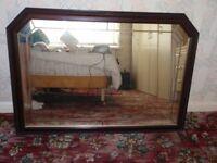 Large Mirror with Dark Wood Frame