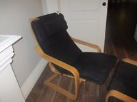 Poang ikea chair with footstool and head rest