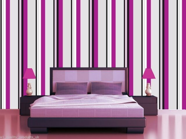 NEW Plum Grey and Black Striped Feature Wallpaper
