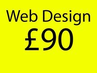 Unlimited page web design for £90. Includes social media, contact form, payment system, CMS and logo
