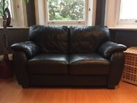 High Quality 2 Seater & 3 Seater Black Leather Sofas in near mint condition - £599 (RRP- £1540)