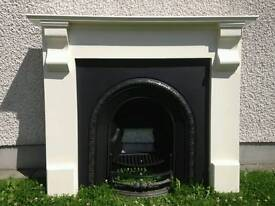 Fireplace with cast iron inset and accessories