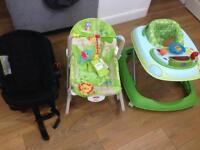 Baby car seat, baby rocker and baby walker
