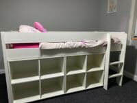 Mid sleeper cabin bed with storage cubes