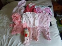 Size 0-3 mth Branded Baby Clothes some BNWT. + Pack of 56 Pampers !st size nappies